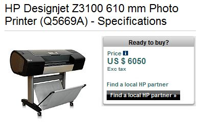 HP Z3100 Middle East price - twice as high!